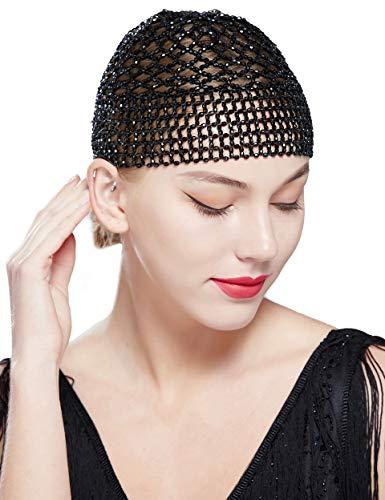Coucoland Gatsby haarketting Cap 1920s hoofdband met pauw veer haarspeld exotisch Cleopatra kostuum accessoires dames carnaval kostuum haaraccessoires