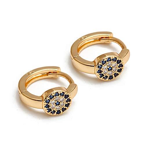 Micro Pave Turkish Evil Eye pendientes oro plata color cobre pequeños pendientes de aro para las mujeres joyería