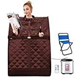 OppsDecor Portable Steam Sauna Spa, 2L Personal Therapeutic Sauna for Weight Loss Detox Relaxation at Home,One Person Sauna with Remote Control,Foldable Chair,Timer (29.5 x 35 x 40.3inch, Brown)
