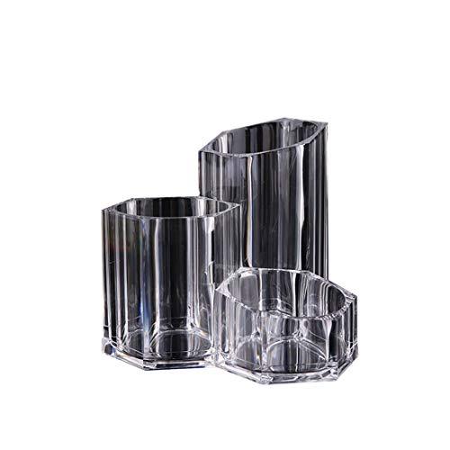 Ouzhoub Portefeuilles et Sacs Accessoires, Simple Maquillage Trois Trous Brosse boîte Multi-Fonction Maquillage Pen Holder cosmétiques Boîte de Rangement (Color : Clear)