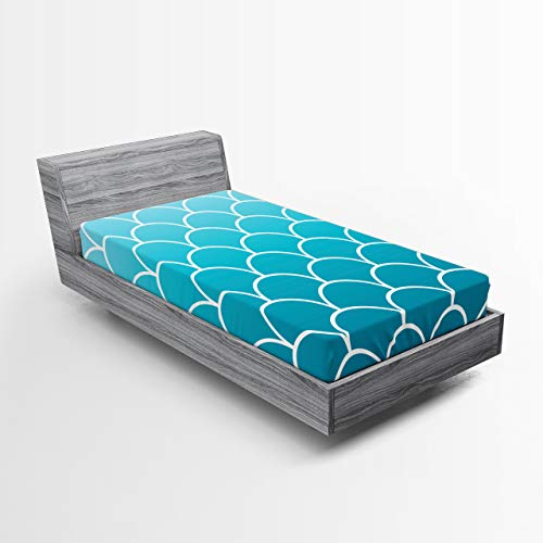 Ambesonne Aqua Ombre Fitted Sheet, Fish Scale Design Squama with Blue Color Palette Mermaid Tail, Bed Cover with All-Round Elastic Deep Pocket for Comfort, Twin XL Size, Sea Blue Aqua and White