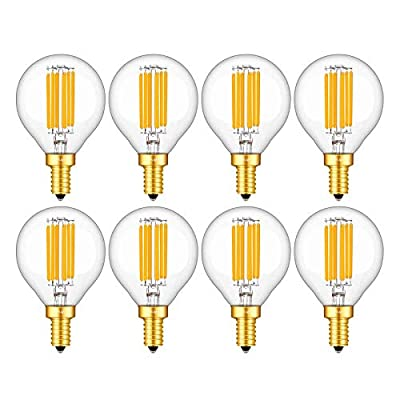CRLight 6W 3000K Dimmable LED Candelabra Bulb Soft White, 65W Equivalent 650LM, E12 Base LED Filament Light Bulbs, G16 Globe Clear Glass Decorative Chandelier Bulbs, Smooth Dimming Version, 8 Pack