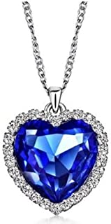 Azamon - Titanic Heart of The Ocean Sapphire Blue CZ Crystal Necklace Pendant Jewelry, Sterling Silver