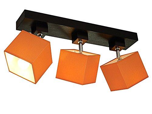 Plafonnier de salon Wero Design Vigo-007B - Socle 53 cm plaqué chêne, 3 flammes, orientable, convient pour ampoule LED au format standard E27, lampe, abat-jours orange