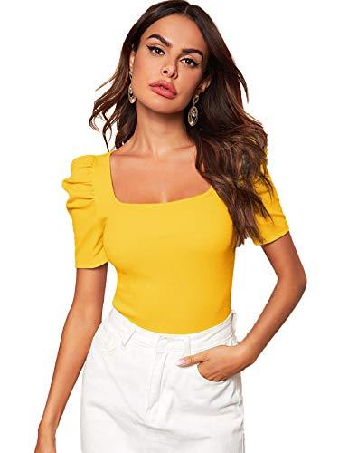 DIDK Damen Strickshirt Kurzarmshirt Elegant Tops Pullover T-Shirt mit Puffärmeln Shirts Oberteile Einfarbig Pulli Casual Tunika Basic Top Gelb#2 M