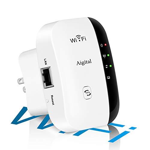 Aigital Repetidor de WiFi, 2.4 G Amplificador de Internet inalámbrico para el hogar 300 Mbps Superboost Wi-Fi Repetidor de Rango de explosión de señal WLAN Repetidor, fácil configuración y Cobertu
