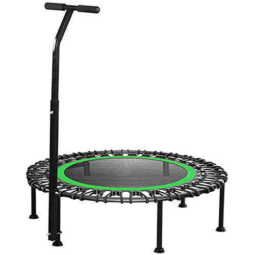 32' 40' 42' Fitness Trampoline, Silent Mini With Adjustable Handle Length, Adults Kids Indoor Gym Bungee Rebounder Jump Trainer Workout,green-32''-With-armrests