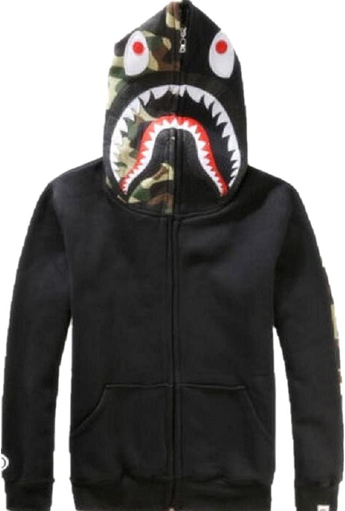 Bape A Bathing Ape Full Zipper Jacket Shark Head Camo Long Sleeve Tops