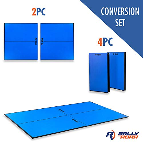 """Rally and Roar Indoor Table Tennis Conversion Top with Net – Official Size, 2 Piece Set, 5/8"""" Thick"""