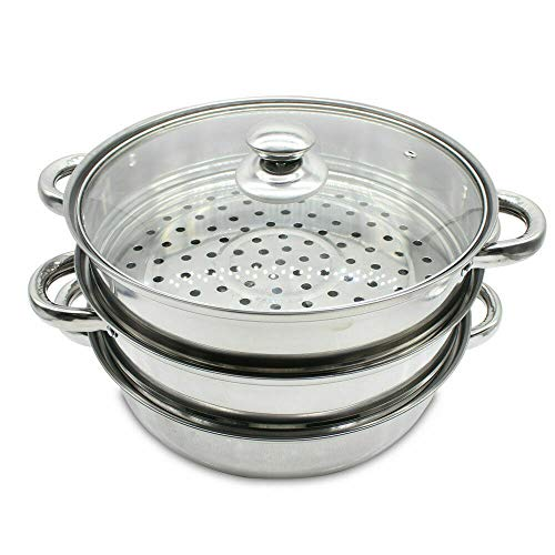 Aohuada 3 Tier Stainless Steel Steamer with Glass Lid Thickened Handles Steaming Pot for Kitchen Cooking Steam Steaming Pot Set 28 cm/11.02'' Dim Sum Cookware Steamer with 2 Steam Lattices