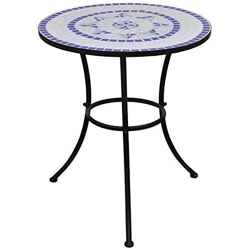 Zerone - Mesa de café con mosaico, 60 cm, color azul y blanco