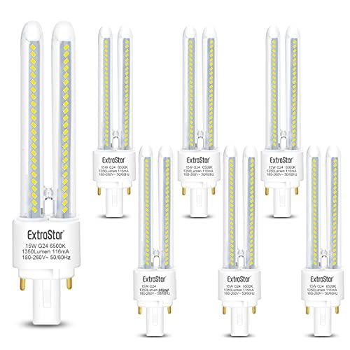 Pack de 6 Bombillas LED PLC Tubo 2U,15W, Maiz G24, Maiz G24, 1350Lm, Luz Fría 6500K, No regulable, Pack de 6