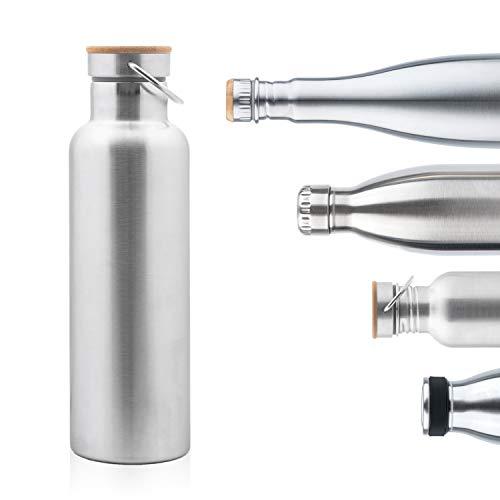 Pure Design Thermosflasche 750 ml Edelstahl, 1l, 500ml mit Bambus Holz Kappe, Leicht Auslaufsicher Isolierflasche Umweltfreundlich, Ohne Logos, BPA Frei, Lebensdauer GARANTIE