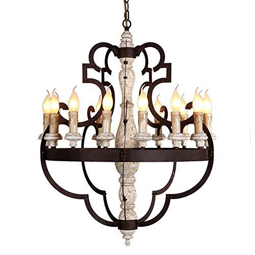 Grande Rústico Lámpara De Araña Bombillas E14 Lujoso Accesorios De Iluminación Del Comedor Linear Lámpara Colgante Con Pintura Negro Y Madera Para Sala De Estar,Pasillo,Entrada-Retro Para Hacer Viejo