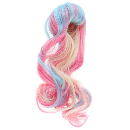non-brand Larga Peluca Rizada con Fleco para 1/3 Bjd Muñeca Dos Colores Rosado Azul