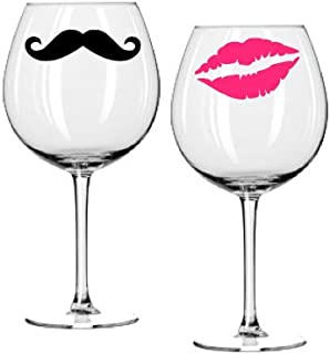Wine Glass Decal Set - Kiss and Mustache - Hot Pink Lips