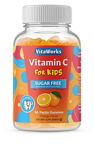 VitaWorks Sugar Free Vitamin C for Kids – Great Tasting Natural Flavor Gummy Supplement – Gluten Free Vegetarian GMO-Free Chewable Vitamins – for Immune Support – 90 Gummies – 45 Doses