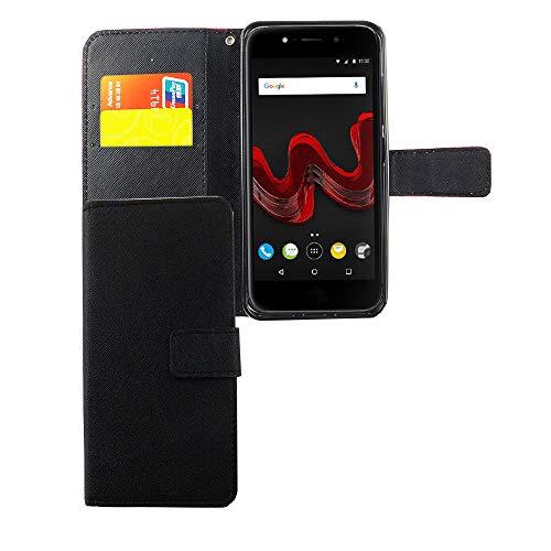 König Design Handyhülle Kompatibel mit Wiko Wim Lite Handytasche Schutzhülle Tasche Flip Hülle mit Kreditkartenfächern - Onyx Schwarz