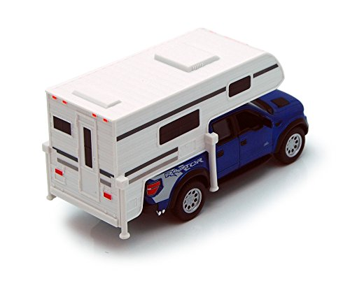 KiNSMART Blue 6-inch 2013 Ford F-150 SVT Raptor SuperCrew Camper 1/46 Scale with Pullback Action