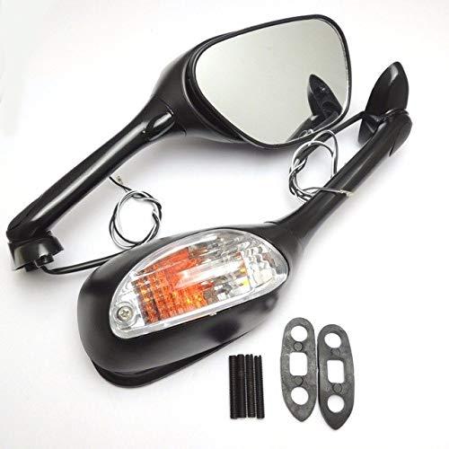 BEESCLOVER Rétroviseurs latéraux de moto avec clignotant pour Suzuki GSXR 600 GSXR 750 2006-2010 K6 K7 K8 GSXR 1000 2005-2008 Show