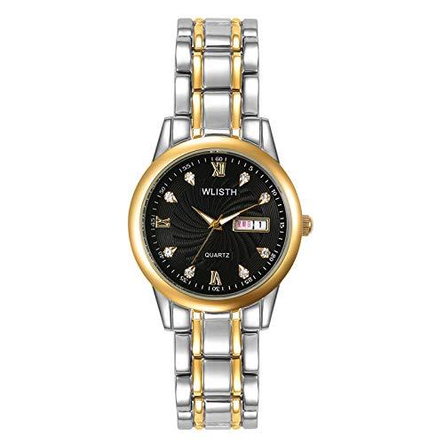 ZWH Wo li shi Pareja versión Coreana de la Noche luz Impermeable Ocio Diamante Doble Calendario Reloj de Cuarzo Hombres una generación (Color : Gold Black Noodles)