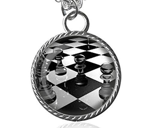 Collar de ajedrez, piezas de ajedrez, colgante de imagen de tablero de ajedrez, joyería de cristal cúpula, un regalo para ella
