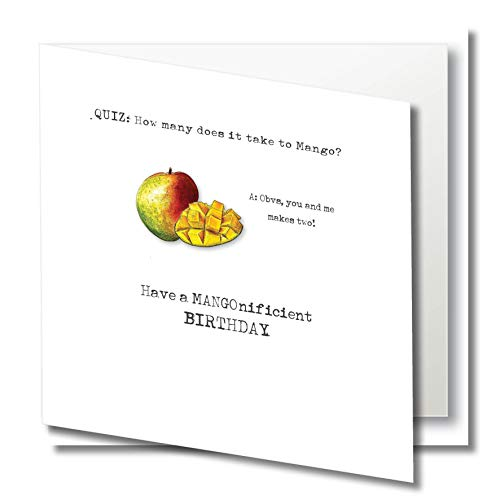 Geburtstagskarte – Humor – Mango Quiz – How Many Does it take to Mango? – Romantische Liebe – innen unbeschriftet – Original Aquarell-Kunst