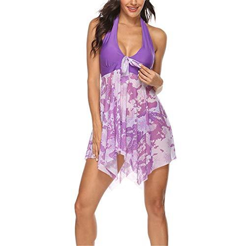 ZHUQI Damen Patchwork Bowknot Print Gepolsterter Bademode Mode einstellbar Schlinge V-Ausschnitt Unregelmäßiger Saum Sexy Rückenfrei Tankini Beachwear 5XL