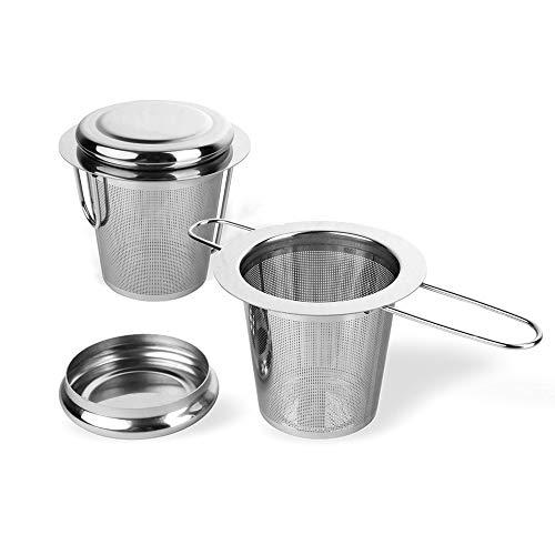 Schramm® 2 Stück Edelstahl Teesieb mit Deckel Abtropfschale Teefilter ideal für losen Tee passend für Tasse und Kanne mit langem Griff faltbar