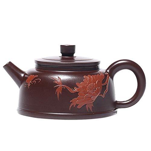 BaiJaC Teapot Japanese, Tea Cup Teapot Handmade Purple Peony Germany Zhuni Bell Teapot Kung Fu Tea Gift Home Color : Purple Zhu Mu, Size : One Size (Color : Purple Zhu Mu, Size : One Size)