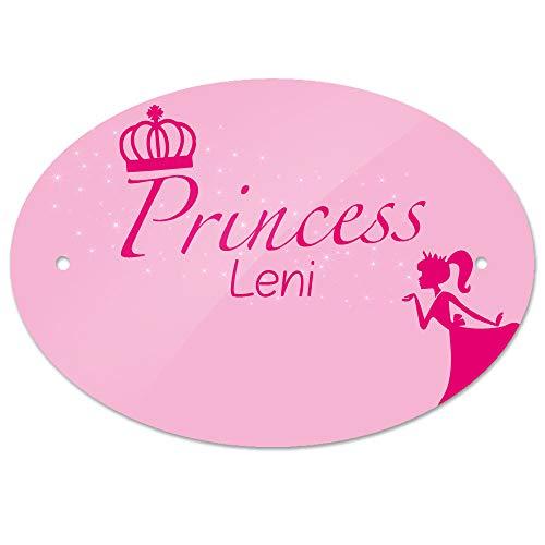 Eurofoto Türschild mit Namen Leni und Prinzessin-Motiv | Kinderzimmer-Schild