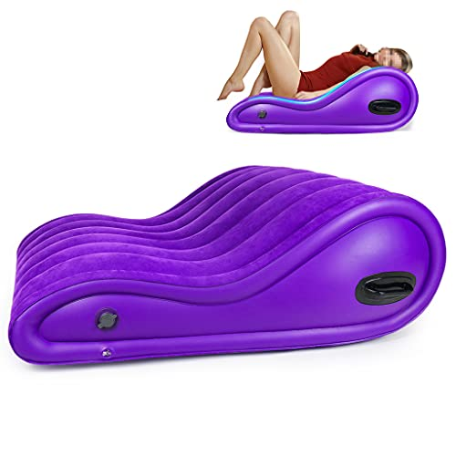 Yoga Chaise Lounge Inflatable Velvet Chaise Lounge Indoor Purple Mattress Air Leather Sofa Couch with Electric Pump Blow Up Chase Lounge Inflatable Deck Chair for Bedroom