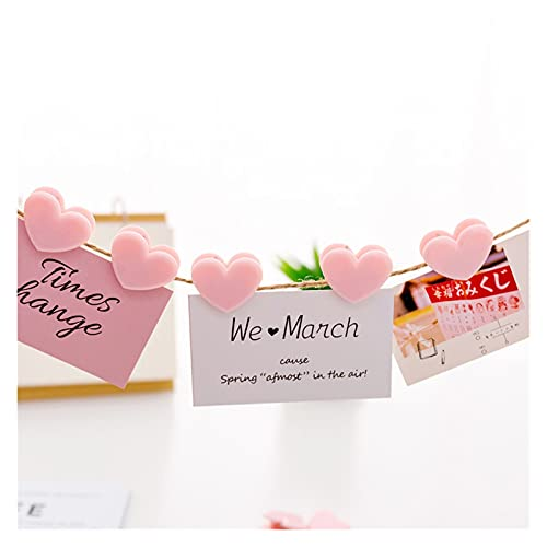 Imanes de Nevera Pegatinas Mini love amor clips rosa plástico suministros de oficina rosa clips refrigerador imán pegatinas papel foto clavija casera decoración accesorio ( Color : Love clips 5pc )