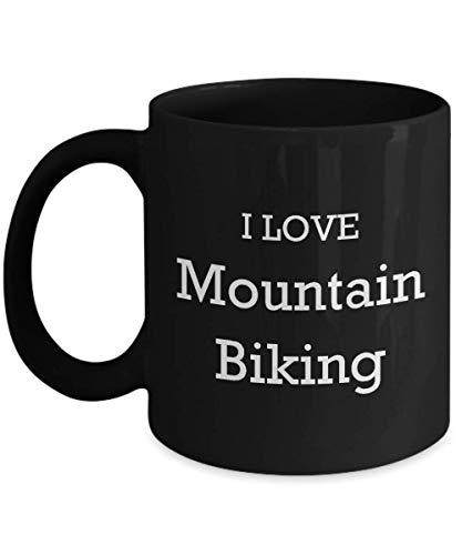 Lsjuee I Love Mountain Bike Coffee Mug 11 oz appassionato amante novità divertente idea regalo divertente tazza da tè per il suo nero