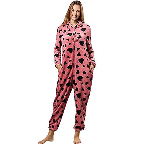 ZYUEER Combinaison Pyjama Chic Femme, Jumpsuit Imprime Love Chaud Loose Casual Pas Cher (L, Rose)