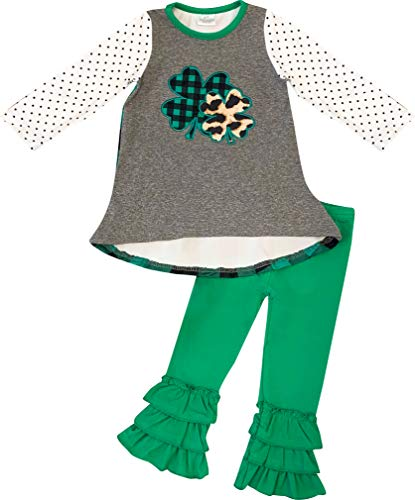 Toddler Girls St Patricks Day Shamrock Clover Tunic Top Pants Set - Green Gray 4T/M