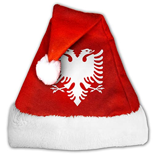 Albanian Eagle Christmas Hats Santa Xmas Hat Red and White Plush Velvet for Adults Kids