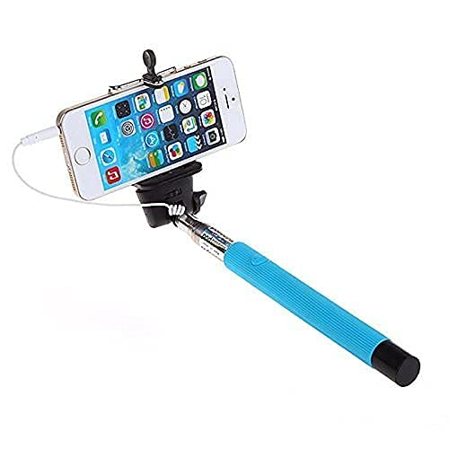 Kimloo Selfie Stick for Mobile Phone for clicking Photos & Making Video with Attached AUX Cable   for iPhone and Android Mobile Phones – Multicolor