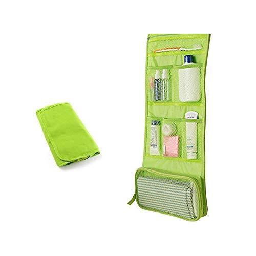 Sacs de Toilette Suspendus Sac de Rangement pour Bijoux de Voyage Organisateur cosmétique pour Femmes Filles avec Poches (Vert)