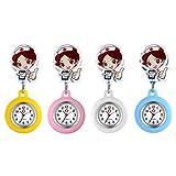 Relojes de Enfermera retráctiles con Clip para Solapa, médicos, clínicas, túnica, Estetoscopio, Insignia de Silicona, Reloj de Lactancia para niñas (4 Colores Conjuntos)