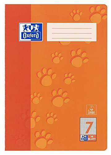 Oxford Schule Schulheft A4, kariert, Lineatur 7, 16 Blatt, orange, 15er Pack