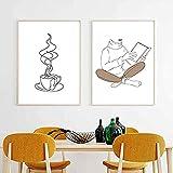 mocarrie Impresión de taza de café en línea fina dibujo acogedor minimalista póster librería arte de pared cuadros lienzo pintura cafetería decoración 40 x 60 cm NoFramed