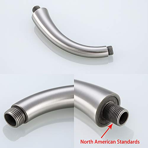 RANDOM All Brass 8 inch Shower Arm, Brushed Nickel also Matte Black and Oil Rubbed Bronze for Choose. (Brushed Nickel)