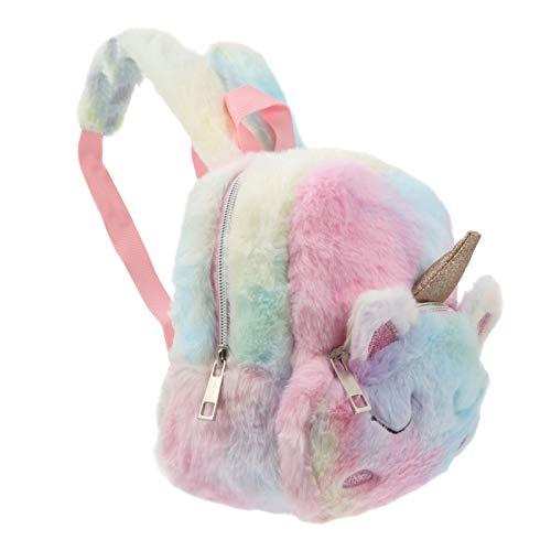 ABOOFAN 3D Unicórnio Mochila para Meninas Pelúcia Animal Cartoon Ombro Bolsa Peludo Bolsa de Viagem Bolsa Escolar Mochila Adorável Mochila Infantil para Meninas Colorido