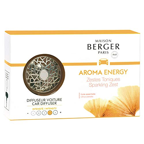 Maison Berger Paris - Diffuseur Voiture - Collection Aroma - Parfum Aroma Energy Zestes Toniques