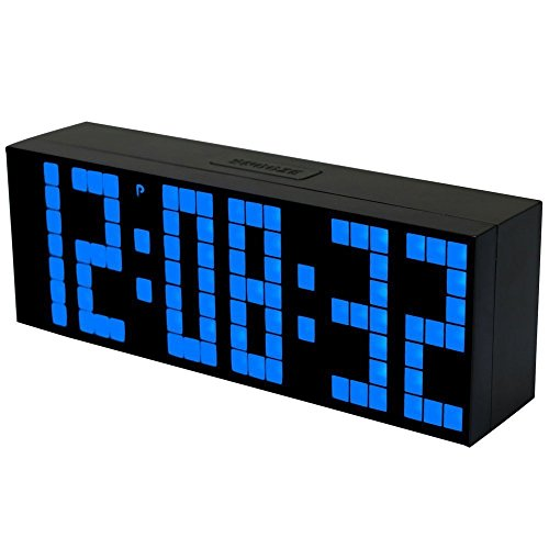 Moireouce Digital Large Big Jumbo LED Snooze Wall Desk Alarm Clock with Thermometer Calendar Indoor Clock