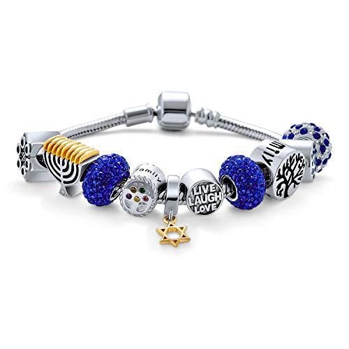 Hielo Azul Invierno 925 Plata esterlina vivo Amor reír amuleto judaico estrella de David judío Menorah Hanukkah europa fino varios encantos pulsera de cuentas para las mujeres para adolescentes