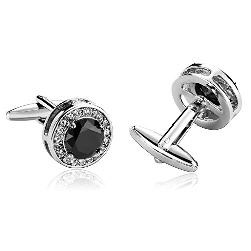 AnazoZ Bijoux tendance, 1 paire de boutons de manchette en forme d'épingle, pour hommes, acier inoxydable, couleur argent