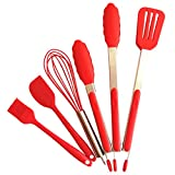 6pcs Kitchen Utensil Set Premium Silicone BPA Free Non-Stick Stainless Steel BBQ Cooking Grilling Locking Food Tongs,Kitchen Tongs 2 pcs,Spatula,Brush,Spatula Tong,Whisk, (9-Inch & 12-Inch) (Red)
