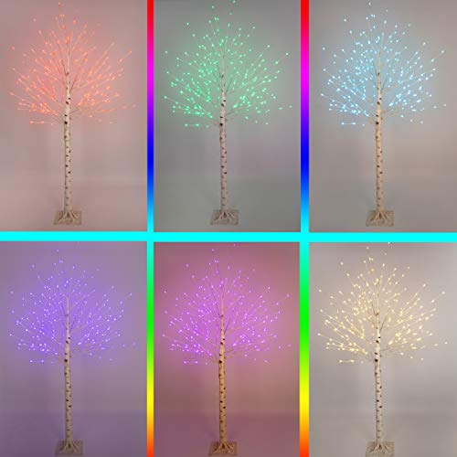 Elnsivo Lit Birch Tree Lighted 6ft Led Tree Remote Control 120Led 16Color Changing Light Up Multicolor Branch Tree Lights for Bedroom,Party,Wedding,Festival Use Christmas Decor (Colorful) (Santa's Best 7.5 Starry Light Microlight Tree W Flip Leds)